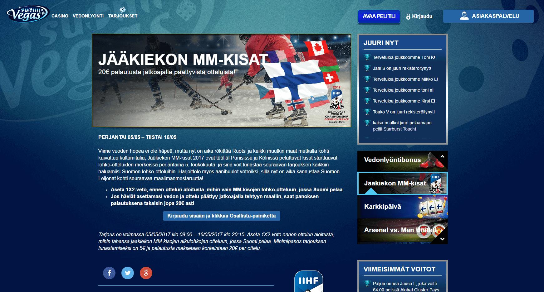 Suomivegas Jääkiekon MM-kisa kampanja