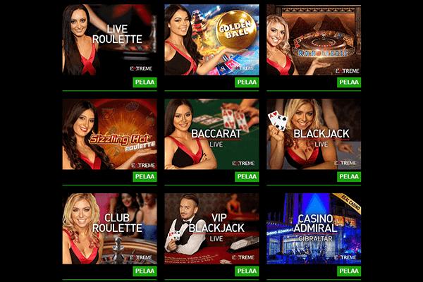Live casino pelit