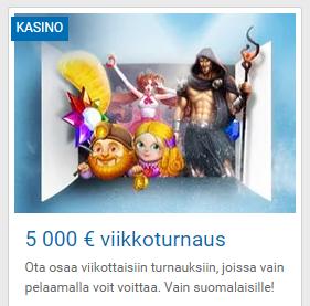 Nordicbet 5000 euron viikkoturnauksia