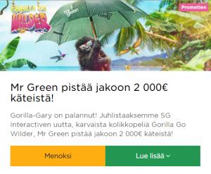 Mr Green jakaa pikaisesti 2000 euroa