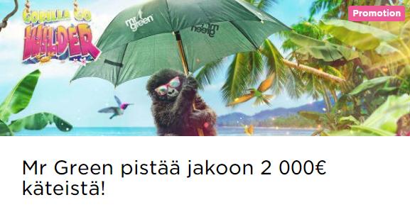 Mr Green jakaa pikaisesti 2000 euron potin
