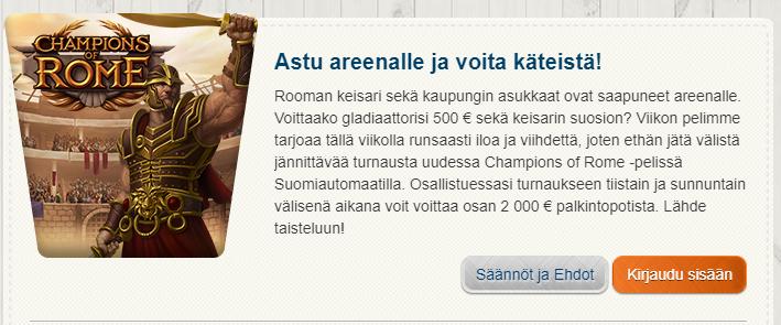 Suomiautomaatti - Astu Areenalle ja voita käteistä jopa 500 euroa