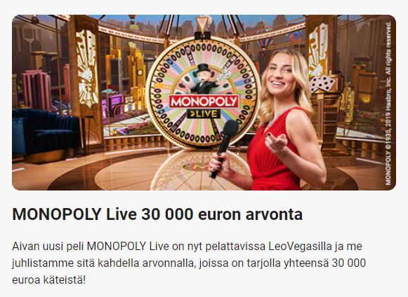 LeoVegas Monopoly Live - 30 000 euroa