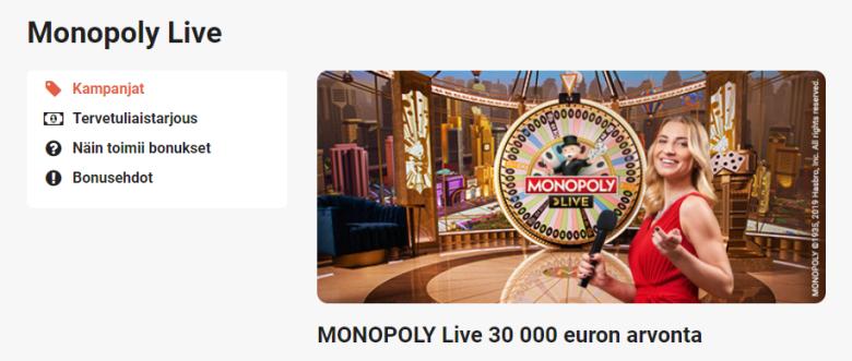 LeoVegas Monopoly Live ja 30 000 euroa