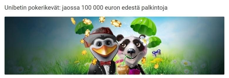 Unibetin pokeri - 100 000 euroa jaossa