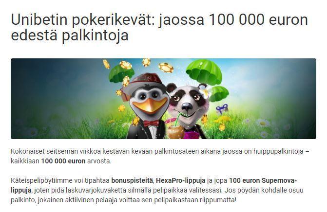 Unibetin pokeri - jaossa 100 000 euroa