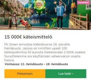 Mr green ja 15 000 euron käteismittelö