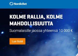 NordicBet ja kolme käteisrallia
